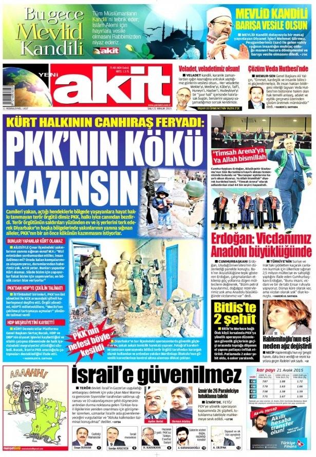 22 Aralık 2015 gazete manşetleri 24