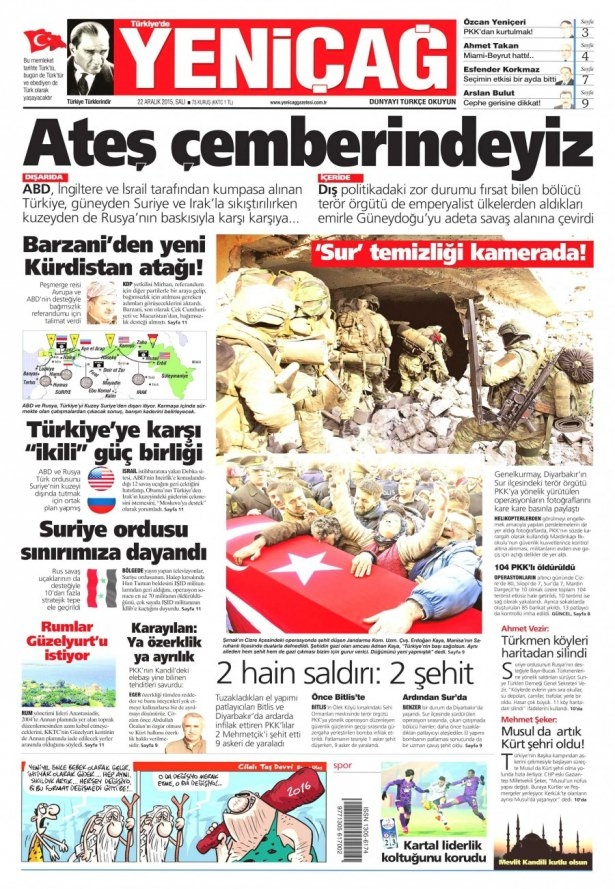22 Aralık 2015 gazete manşetleri 25