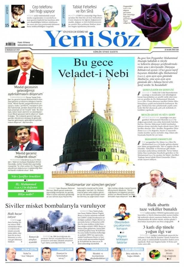 22 Aralık 2015 gazete manşetleri 28