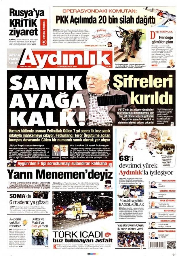 22 Aralık 2015 gazete manşetleri 3