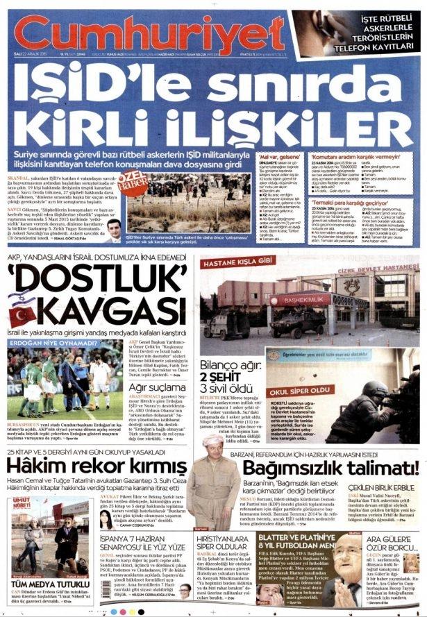 22 Aralık 2015 gazete manşetleri 5