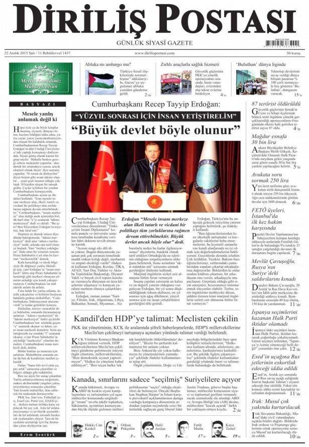 22 Aralık 2015 gazete manşetleri 6
