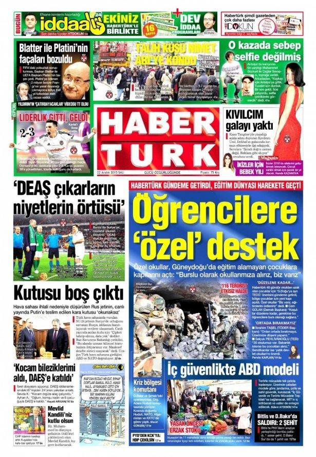 22 Aralık 2015 gazete manşetleri 7