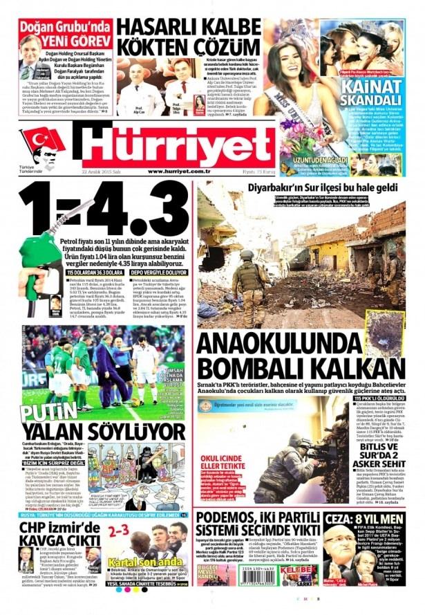 22 Aralık 2015 gazete manşetleri 8