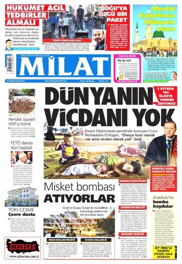 22 Aralık 2015 gazete manşetleri 9