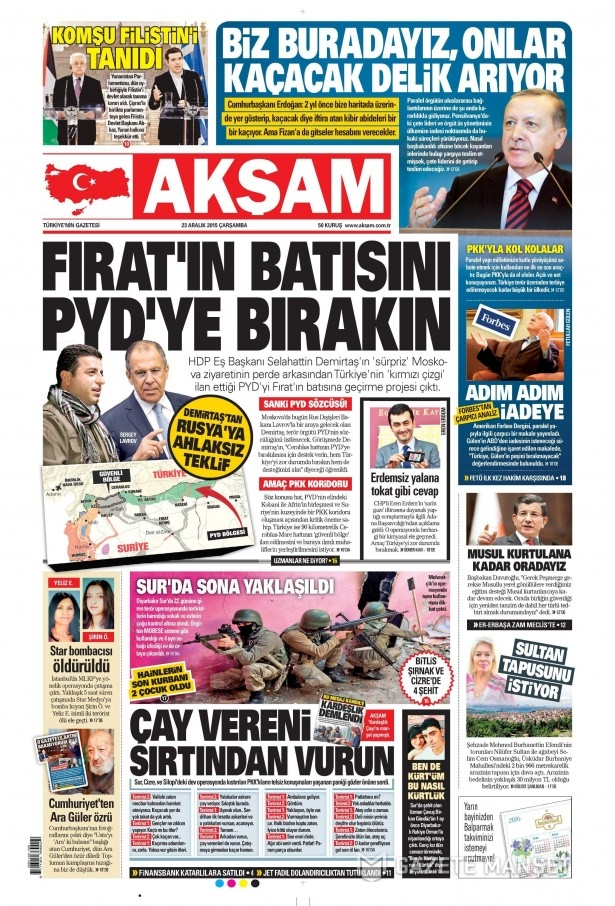 23 Aralık 2015 gazete manşetleri 1