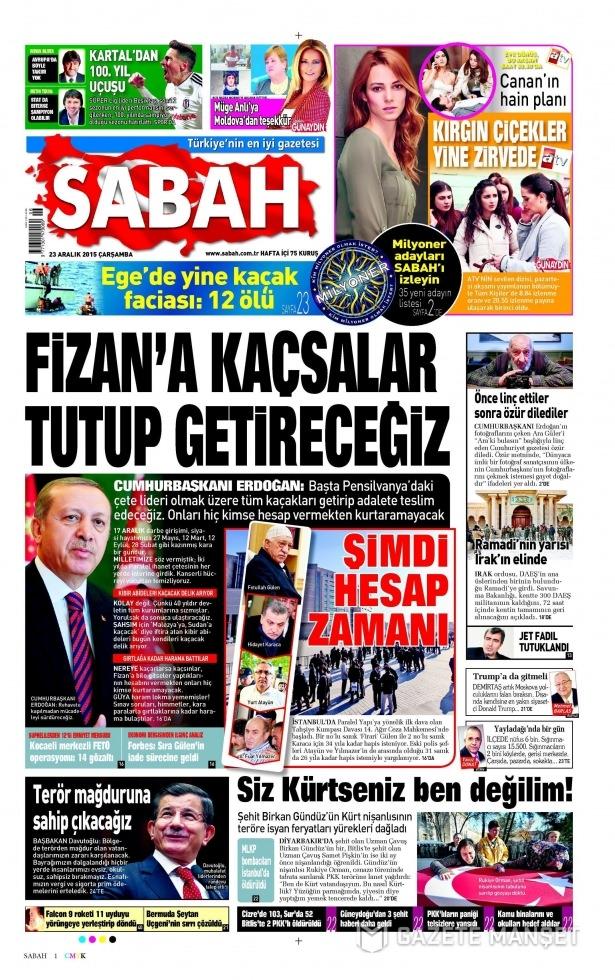 23 Aralık 2015 gazete manşetleri 10