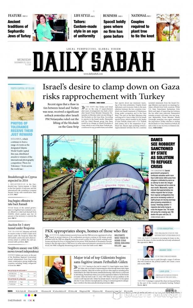 23 Aralık 2015 gazete manşetleri 11