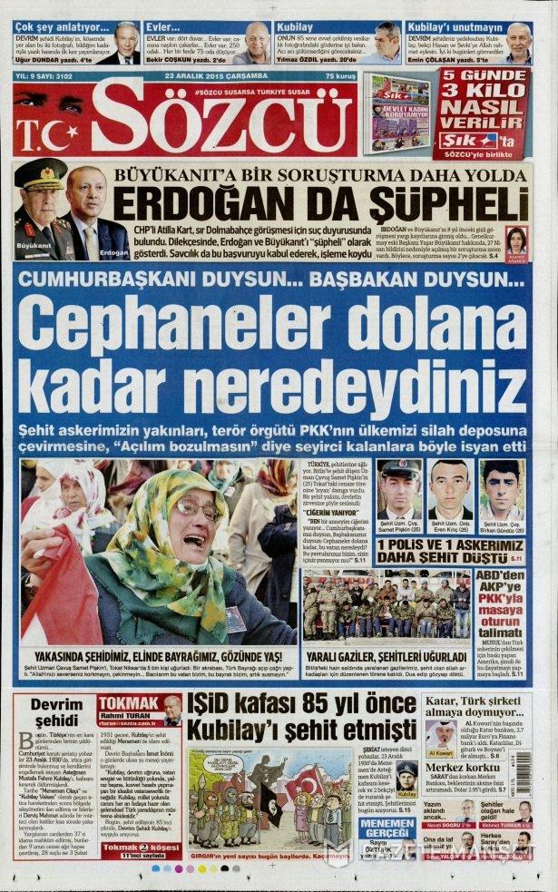 23 Aralık 2015 gazete manşetleri 12