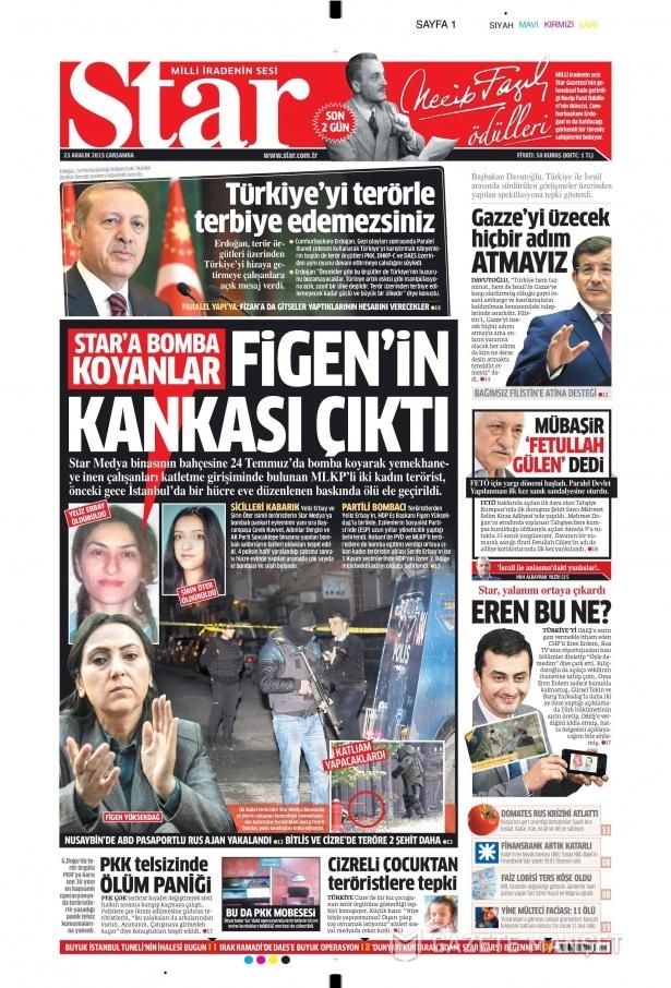 23 Aralık 2015 gazete manşetleri 13