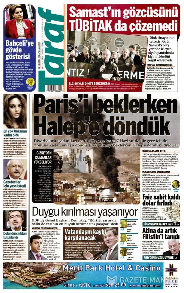 23 Aralık 2015 gazete manşetleri 15