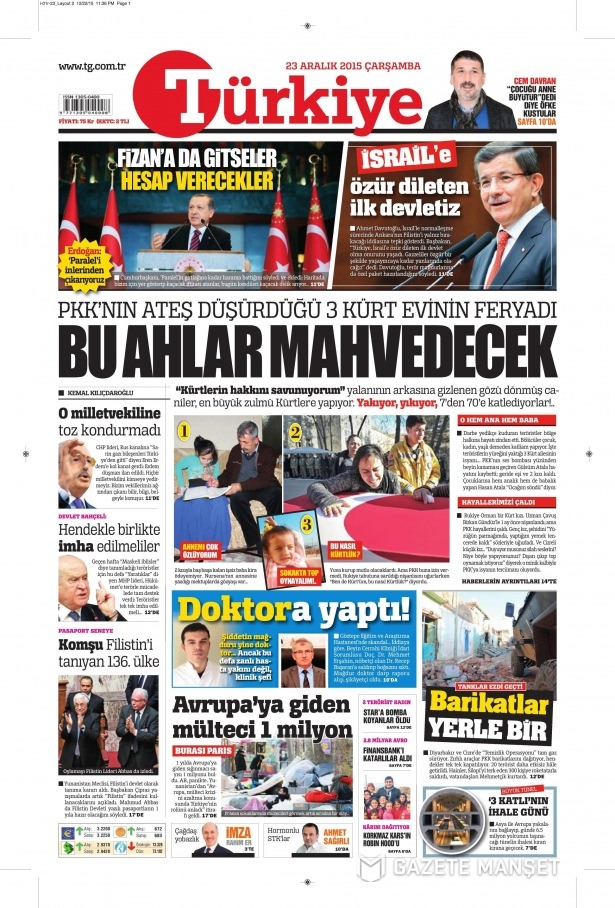 23 Aralık 2015 gazete manşetleri 16