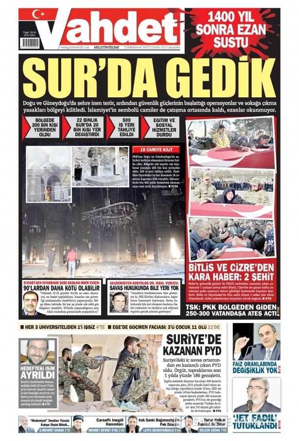 23 Aralık 2015 gazete manşetleri 17