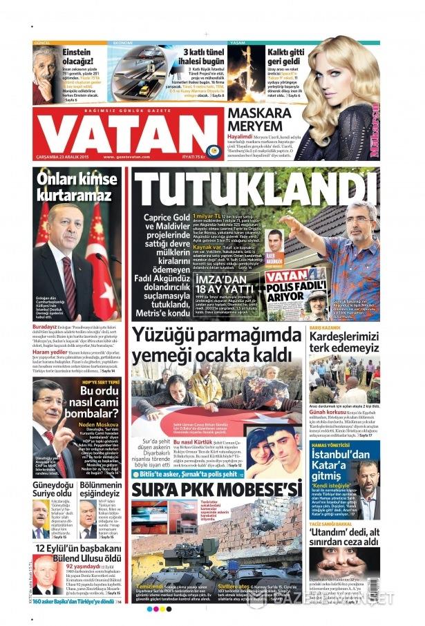 23 Aralık 2015 gazete manşetleri 19