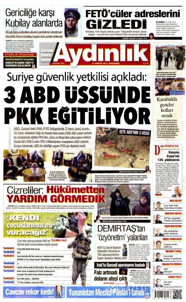 23 Aralık 2015 gazete manşetleri 2