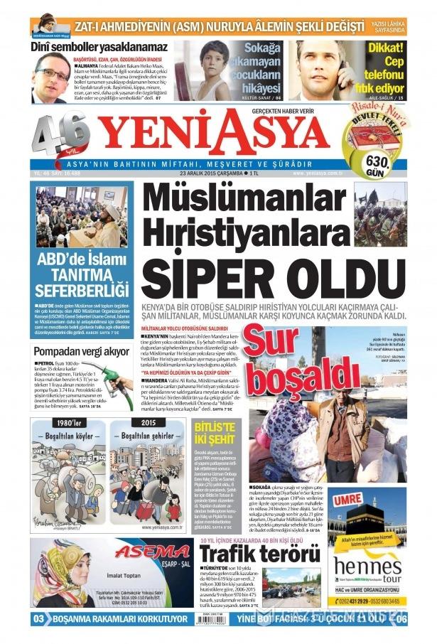 23 Aralık 2015 gazete manşetleri 20