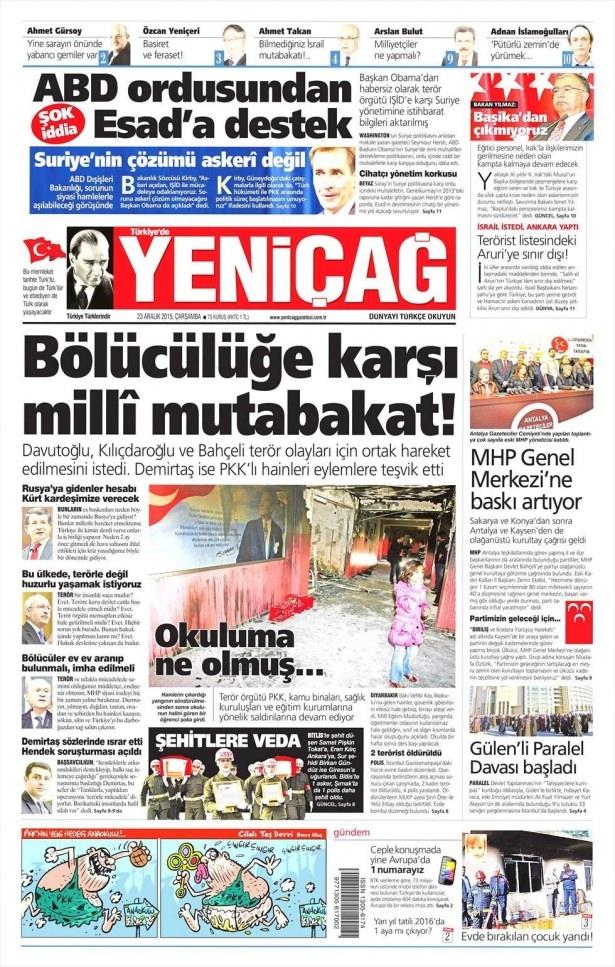 23 Aralık 2015 gazete manşetleri 21