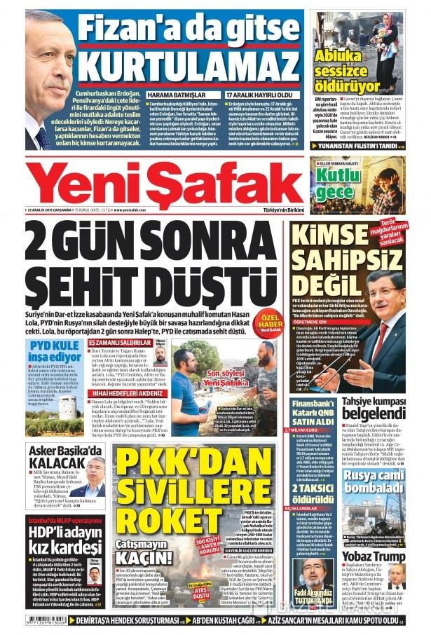 23 Aralık 2015 gazete manşetleri 22