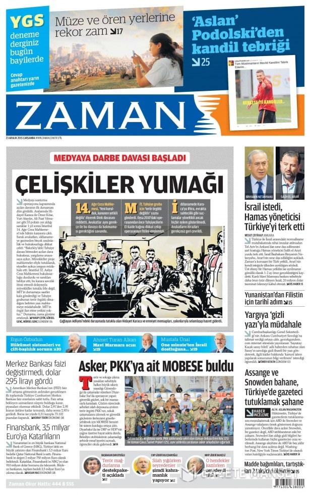 23 Aralık 2015 gazete manşetleri 23