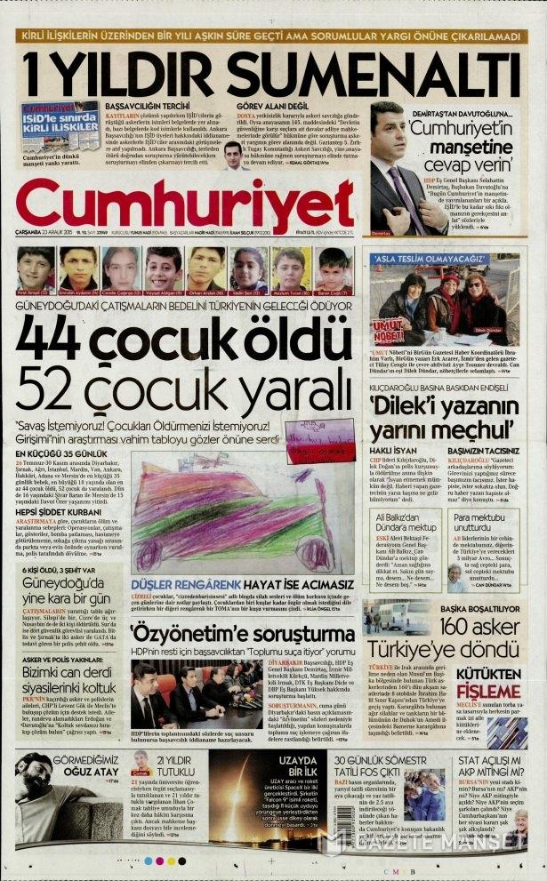 23 Aralık 2015 gazete manşetleri 24