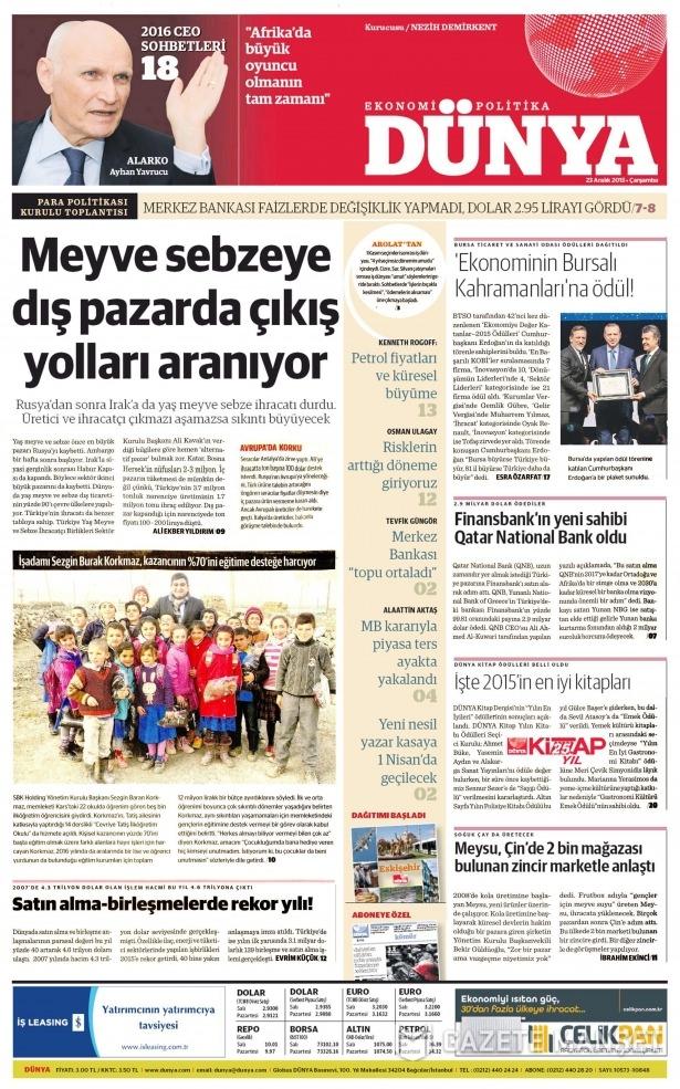23 Aralık 2015 gazete manşetleri 25