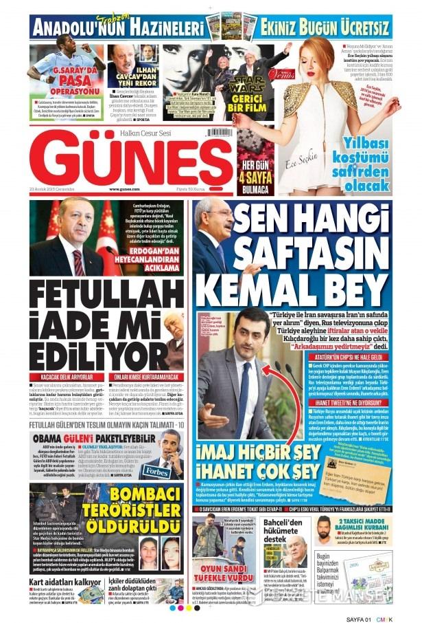 23 Aralık 2015 gazete manşetleri 28