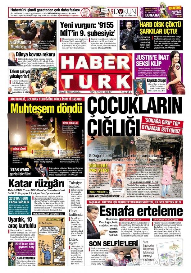 23 Aralık 2015 gazete manşetleri 3