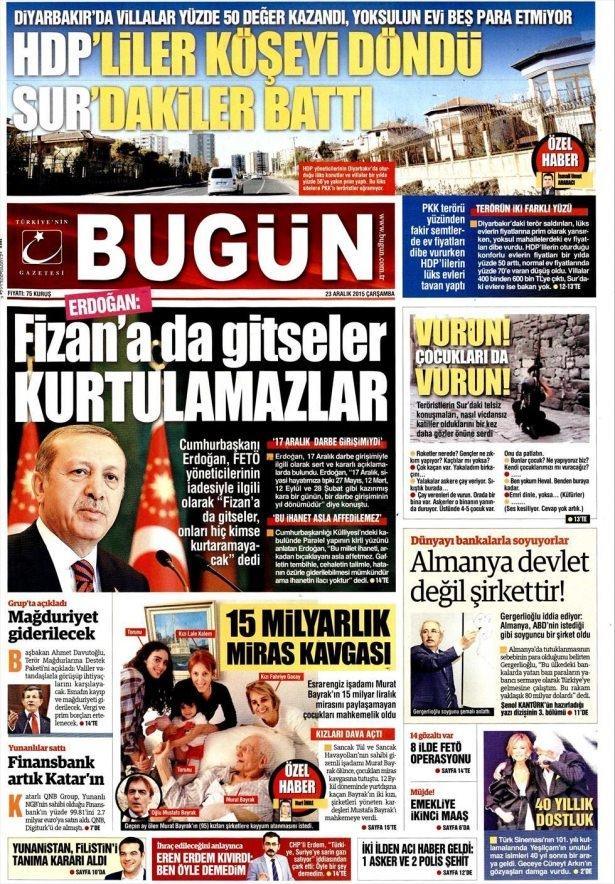 23 Aralık 2015 gazete manşetleri 30