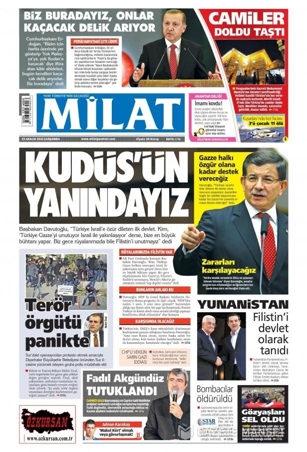 23 Aralık 2015 gazete manşetleri 5