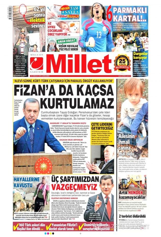 23 Aralık 2015 gazete manşetleri 6