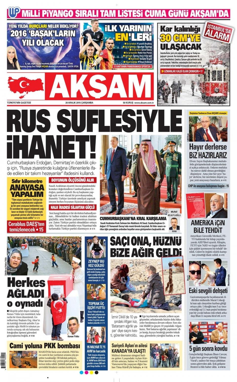 30 Aralık 2015 gazete manşetleri 1