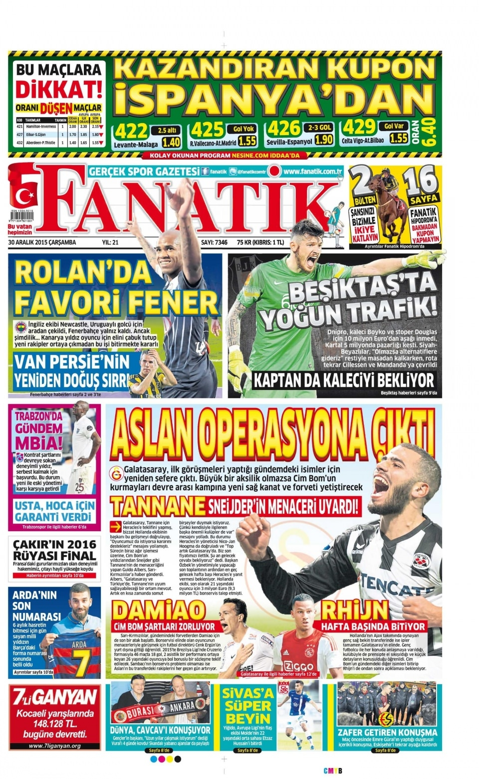 30 Aralık 2015 gazete manşetleri 10
