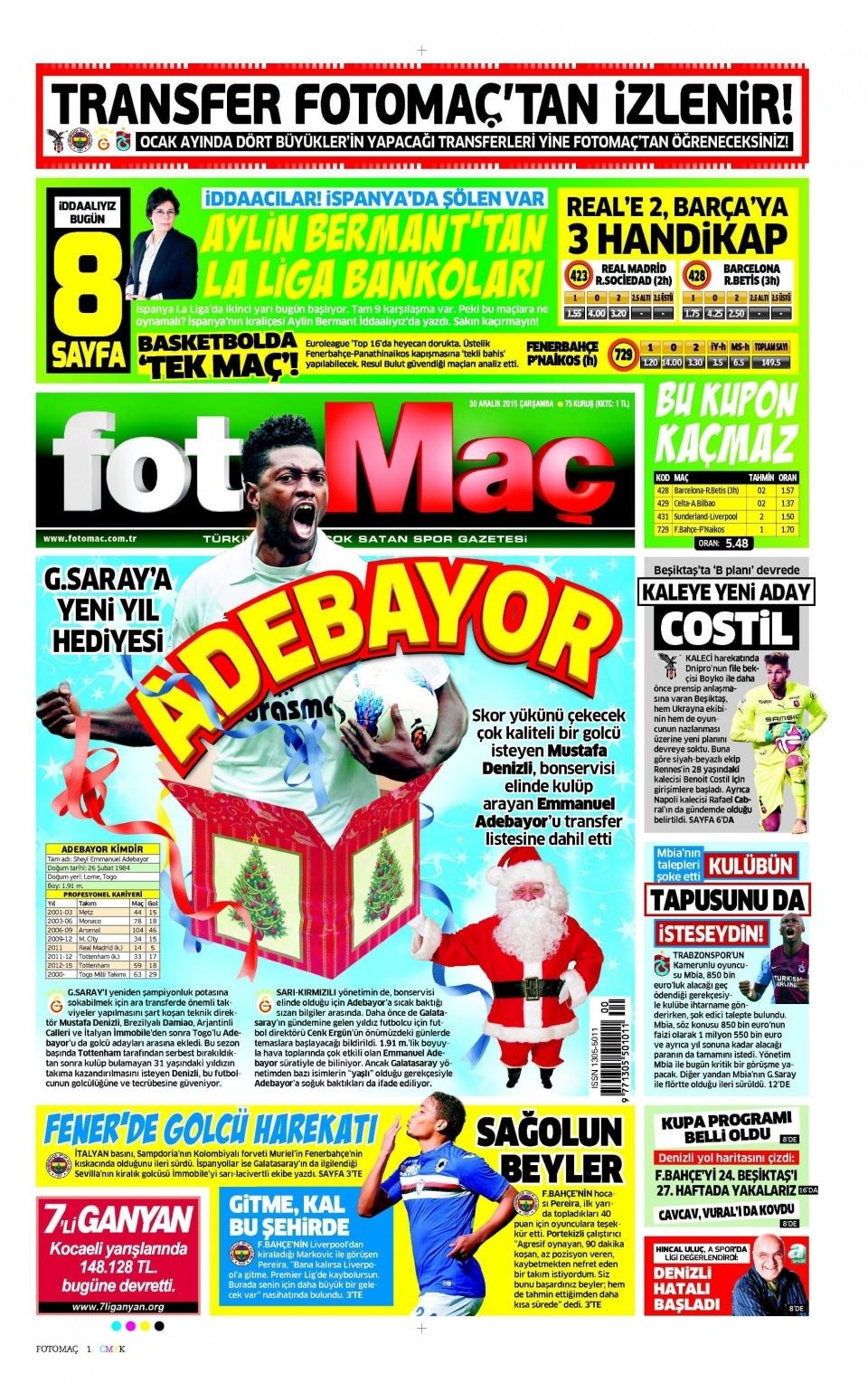 30 Aralık 2015 gazete manşetleri 11