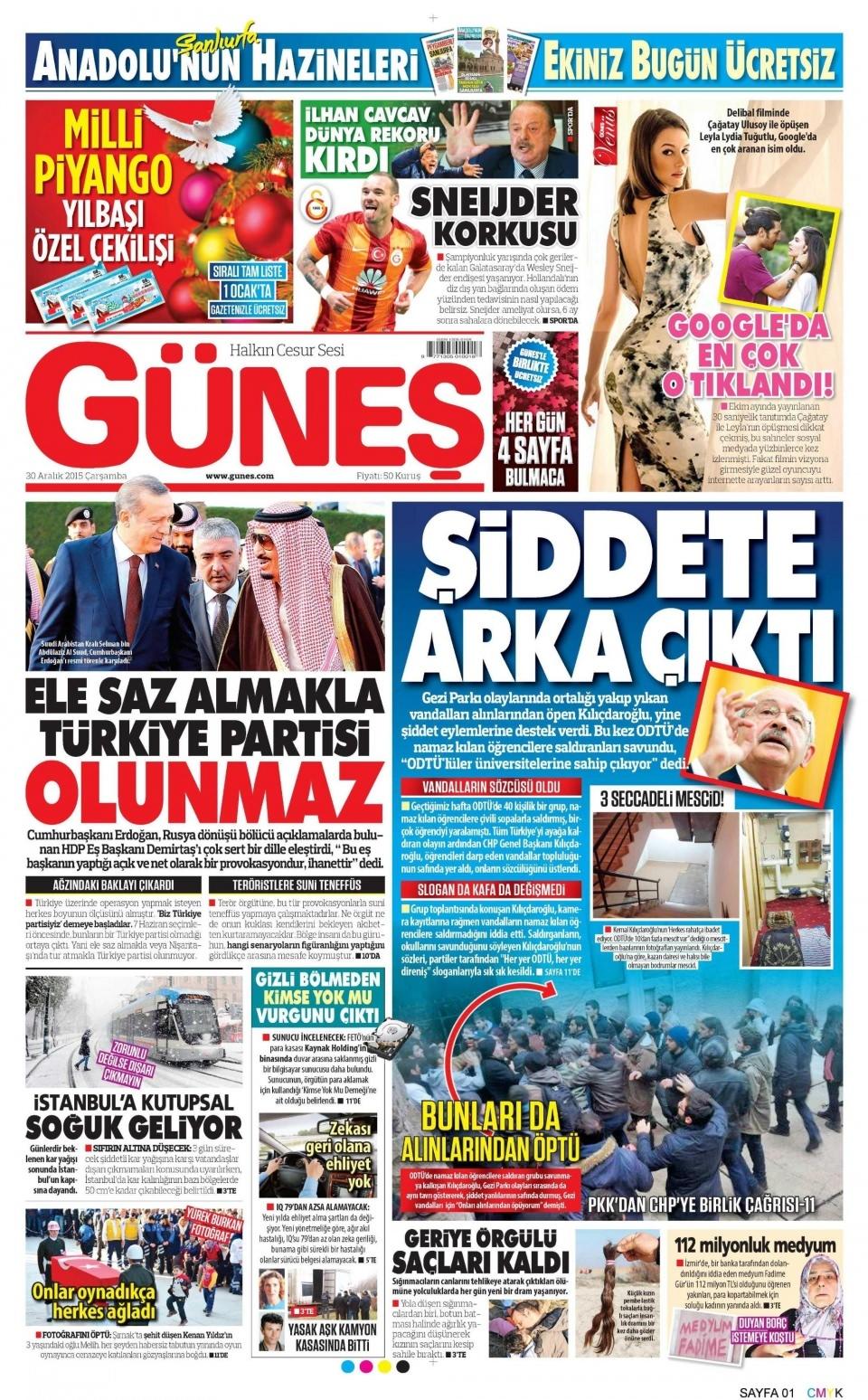 30 Aralık 2015 gazete manşetleri 12