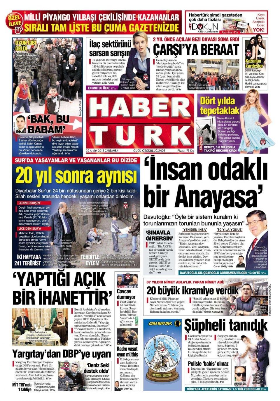 30 Aralık 2015 gazete manşetleri 13