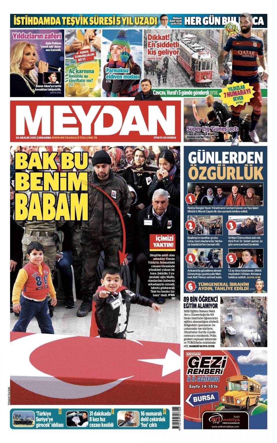 30 Aralık 2015 gazete manşetleri 15