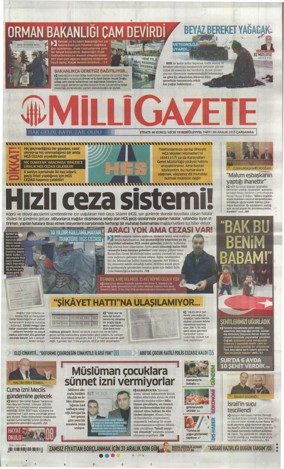 30 Aralık 2015 gazete manşetleri 18