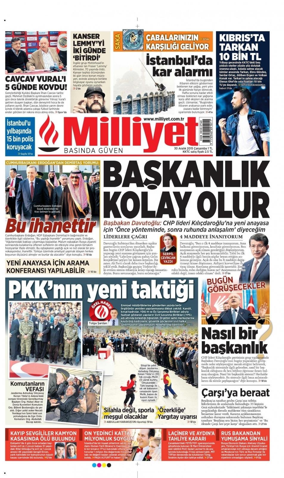 30 Aralık 2015 gazete manşetleri 19