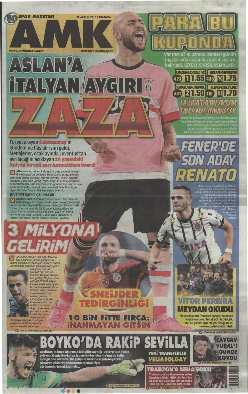 30 Aralık 2015 gazete manşetleri 2