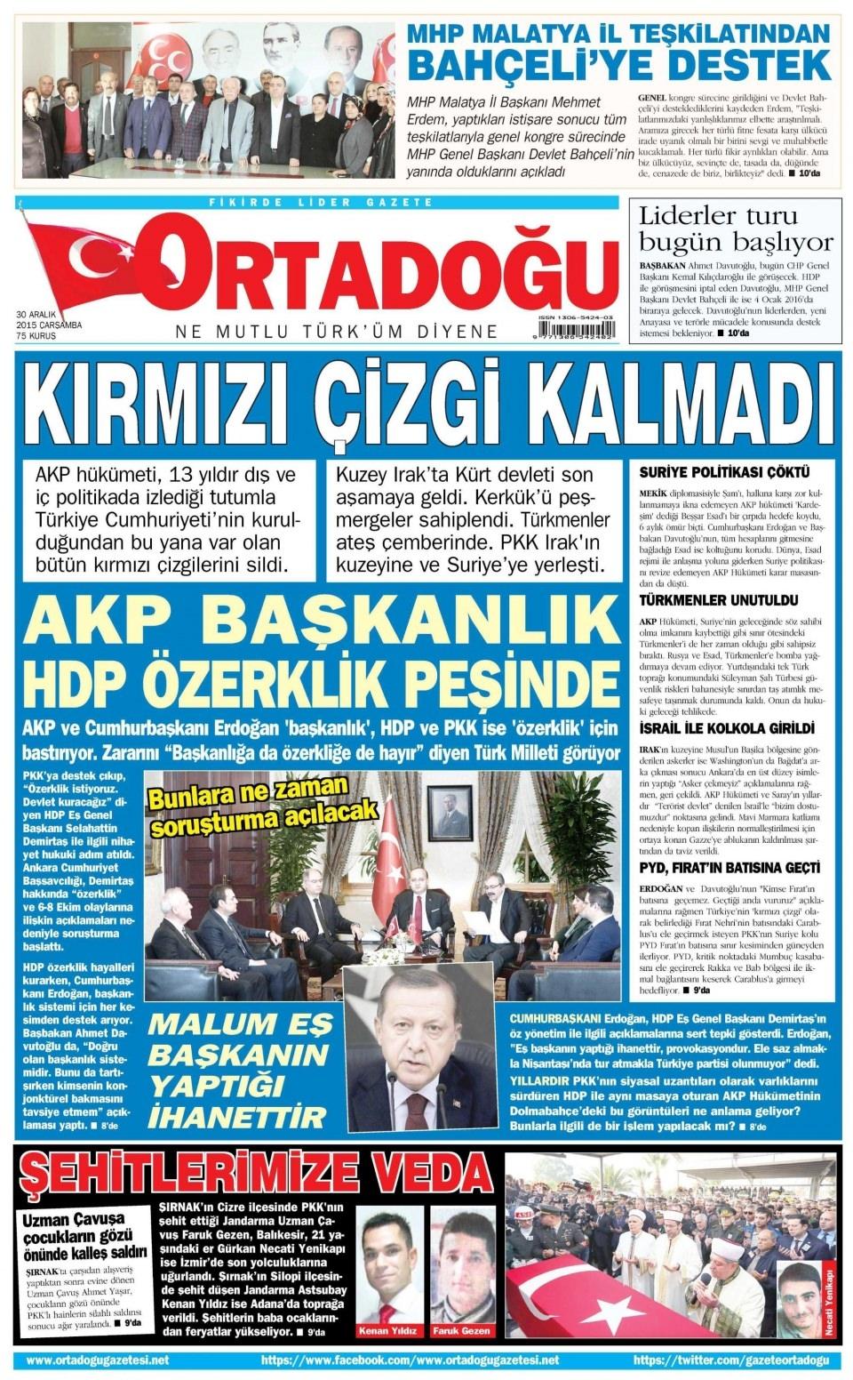 30 Aralık 2015 gazete manşetleri 20