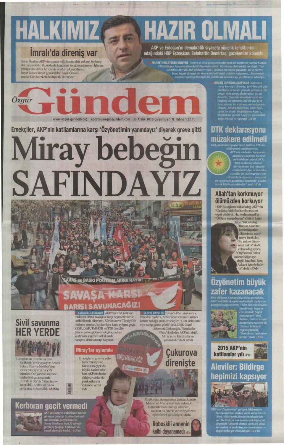 30 Aralık 2015 gazete manşetleri 21