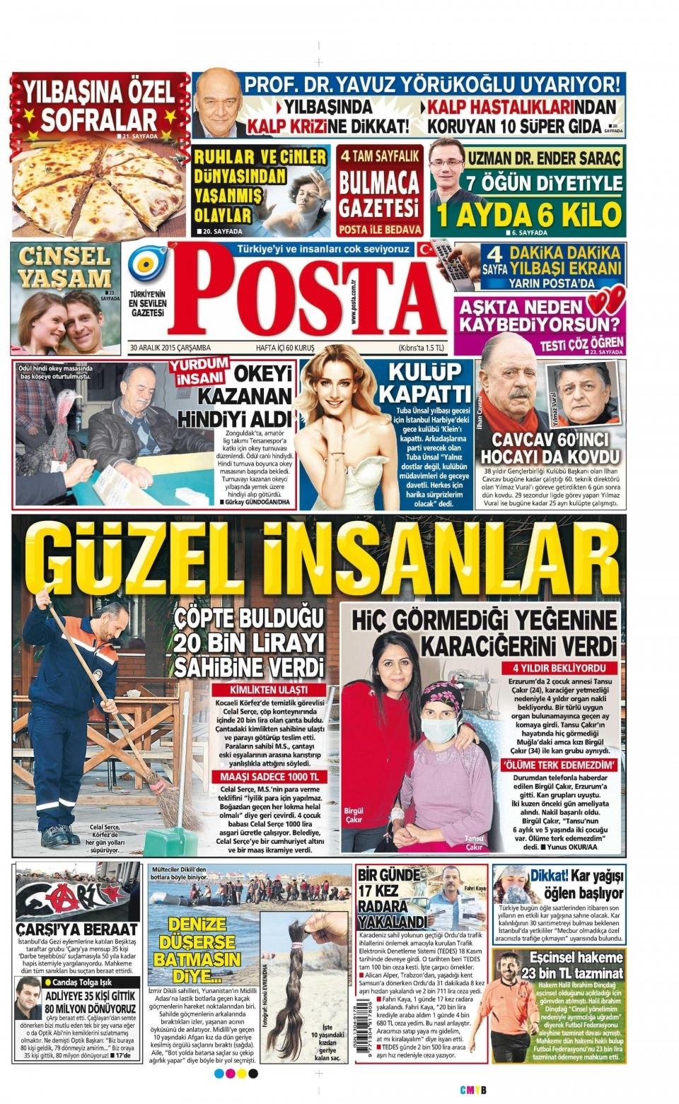 30 Aralık 2015 gazete manşetleri 22