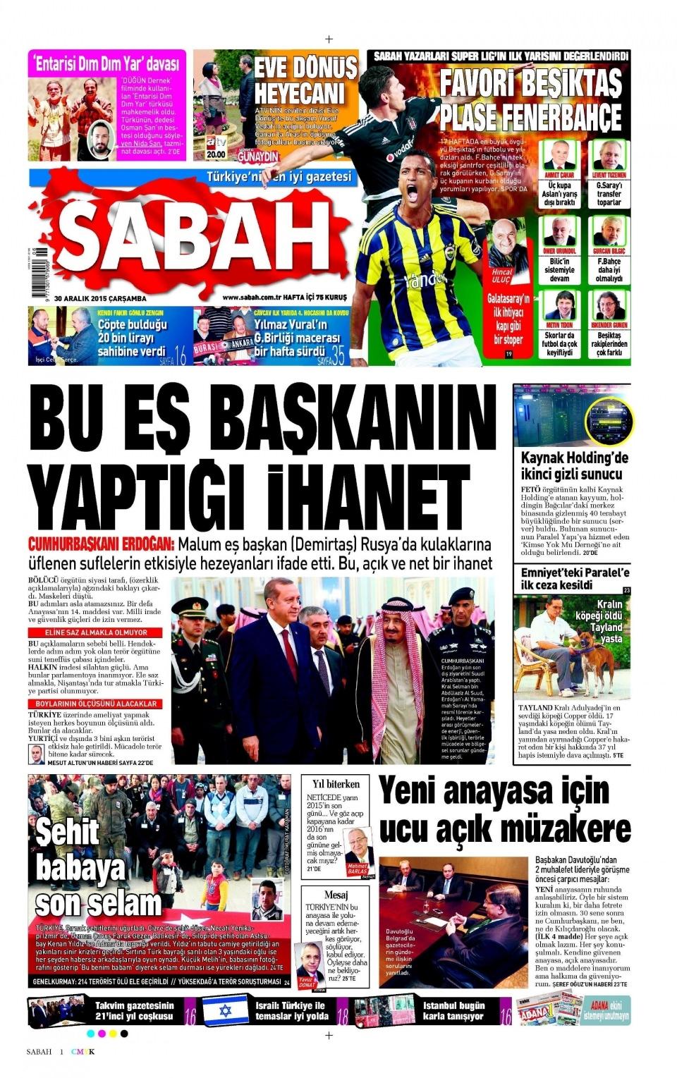 30 Aralık 2015 gazete manşetleri 23