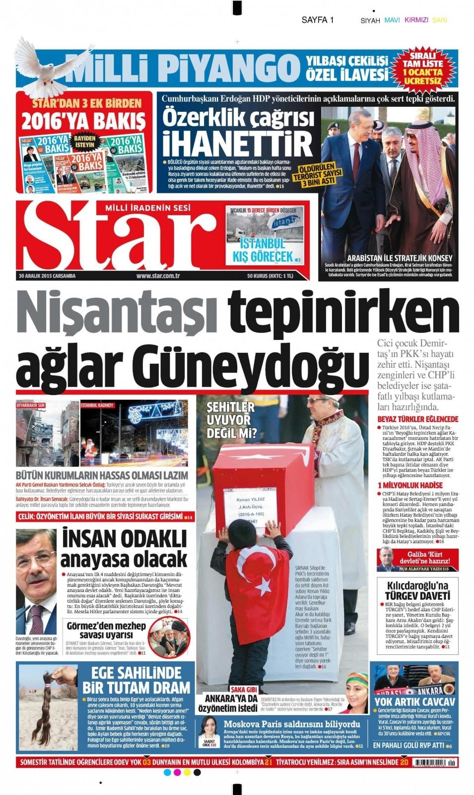 30 Aralık 2015 gazete manşetleri 25