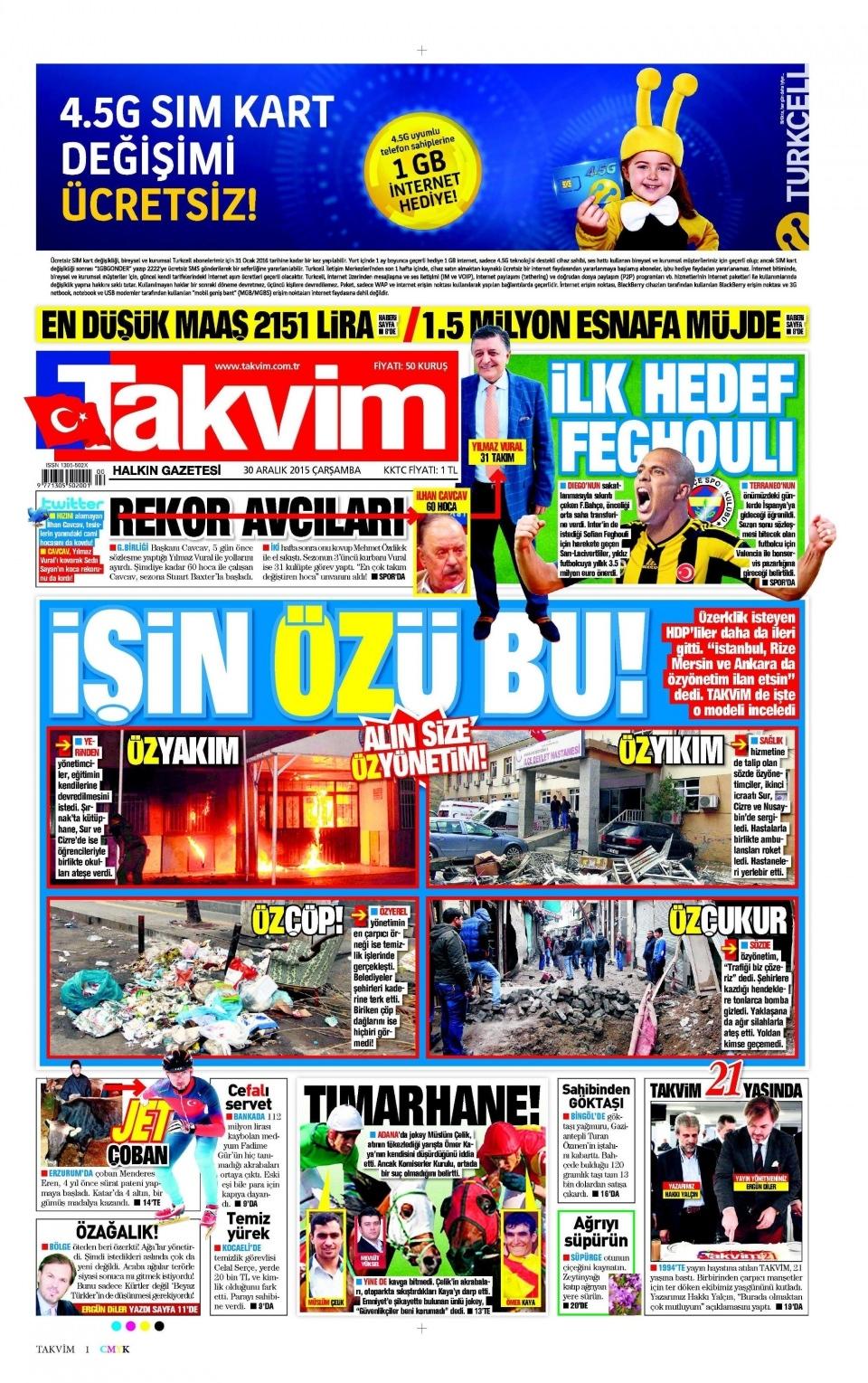 30 Aralık 2015 gazete manşetleri 26