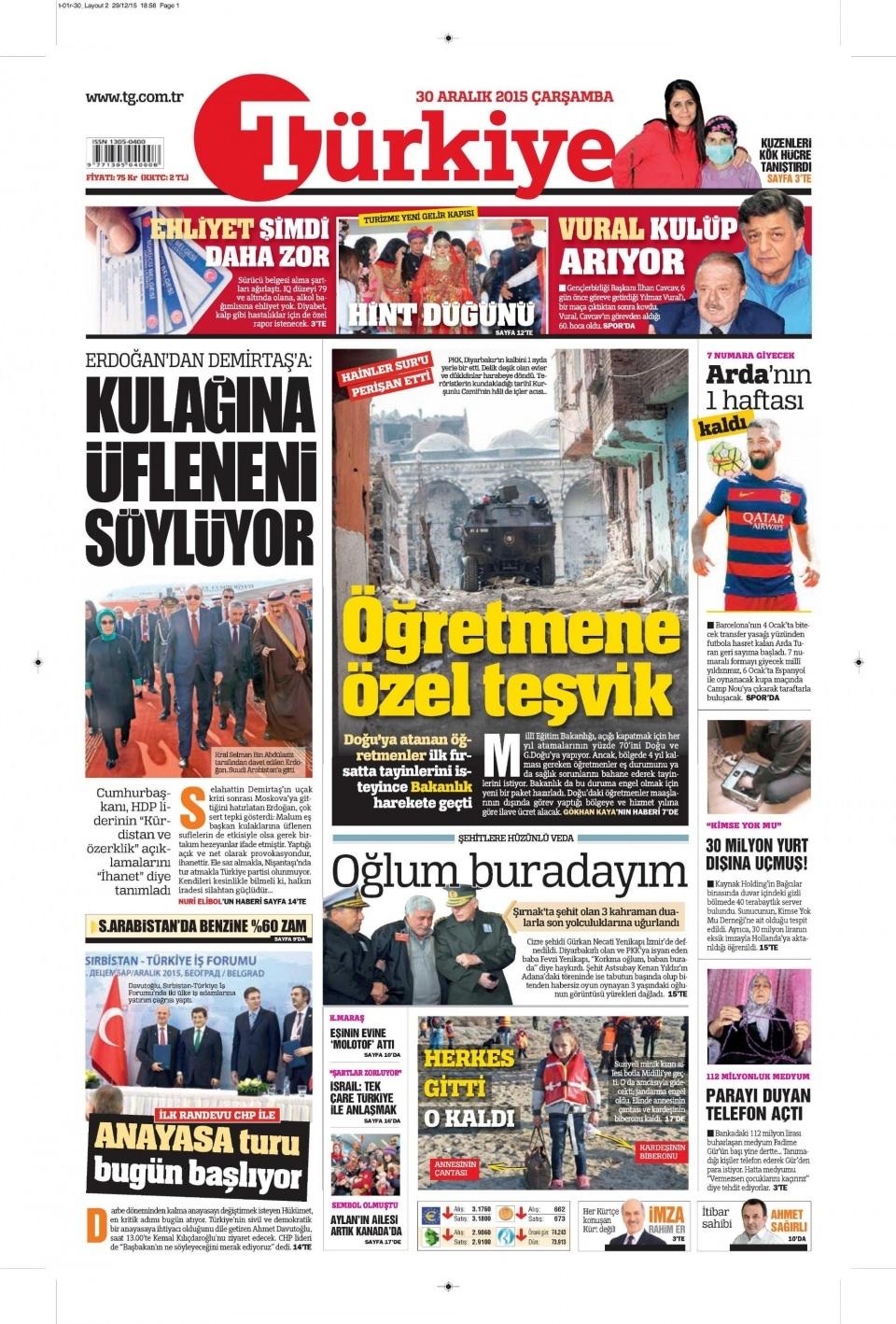 30 Aralık 2015 gazete manşetleri 28