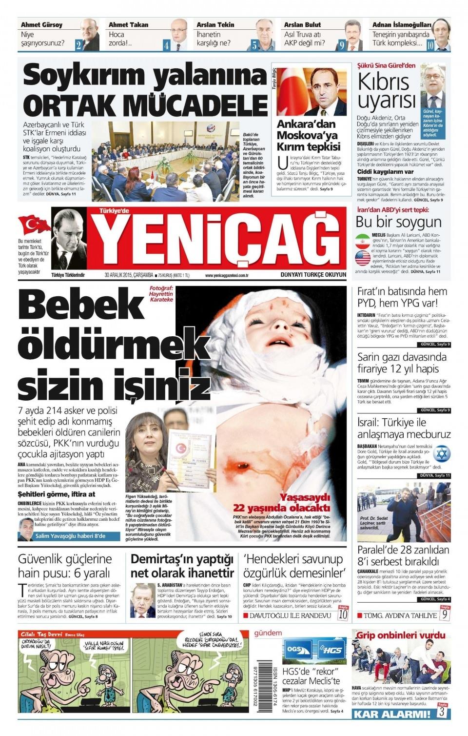 30 Aralık 2015 gazete manşetleri 29