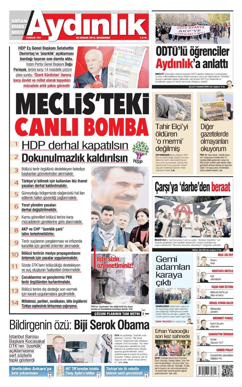 30 Aralık 2015 gazete manşetleri 3