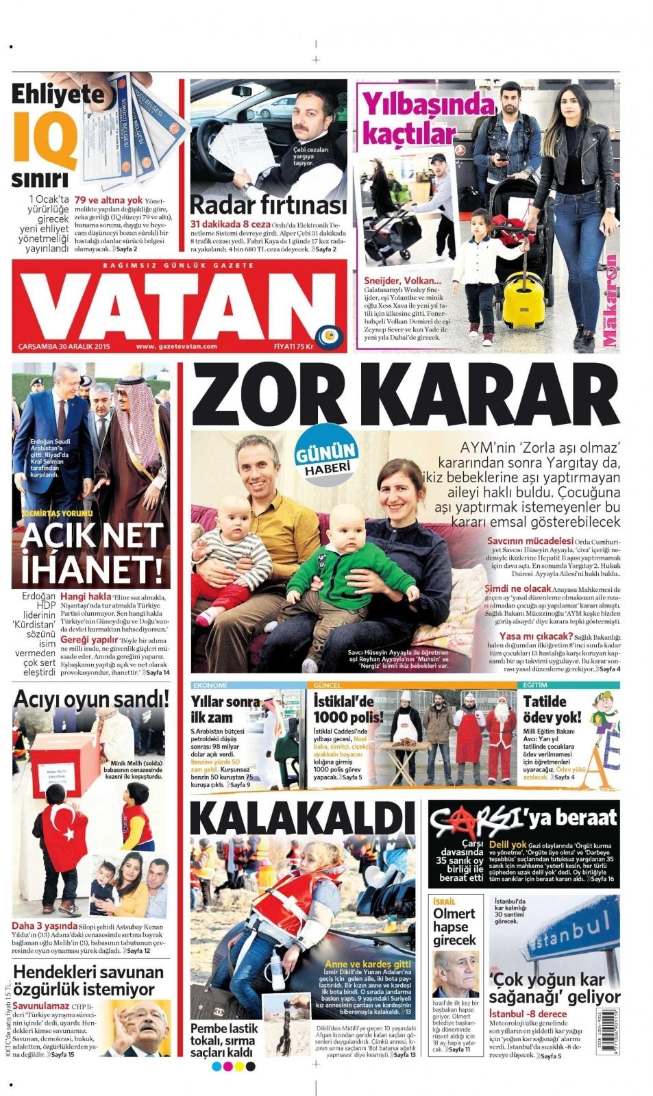 30 Aralık 2015 gazete manşetleri 30