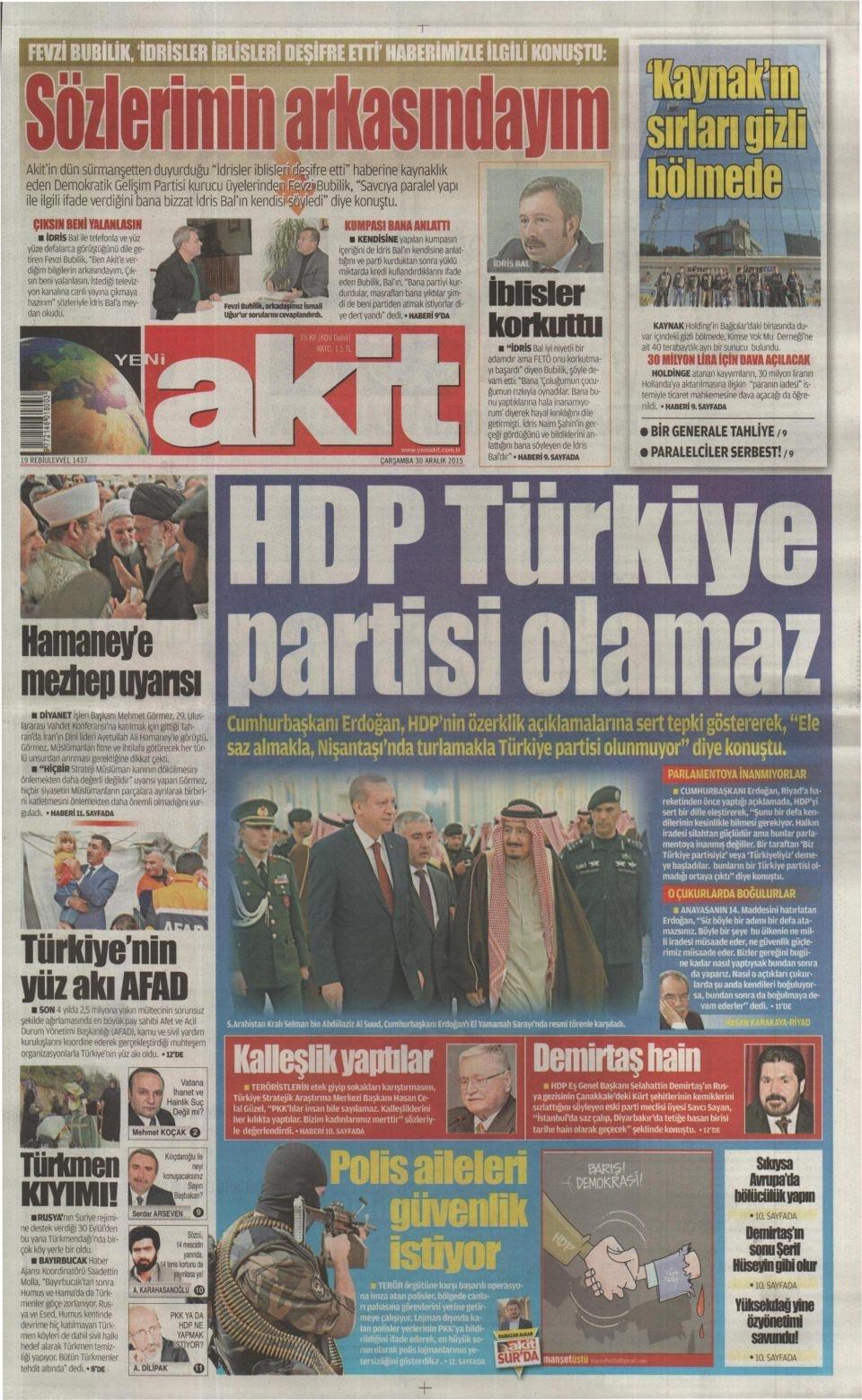 30 Aralık 2015 gazete manşetleri 31